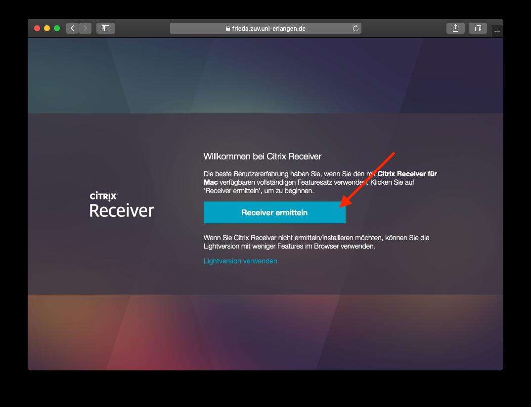 Citrix Receiver (Workspace) ermitteln