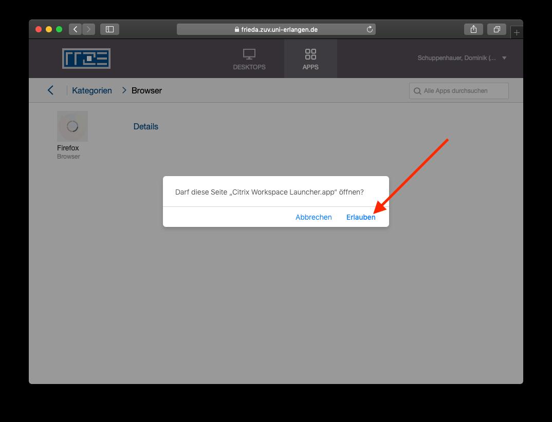 Starten von Applikationen über den Citrix Workspace Client