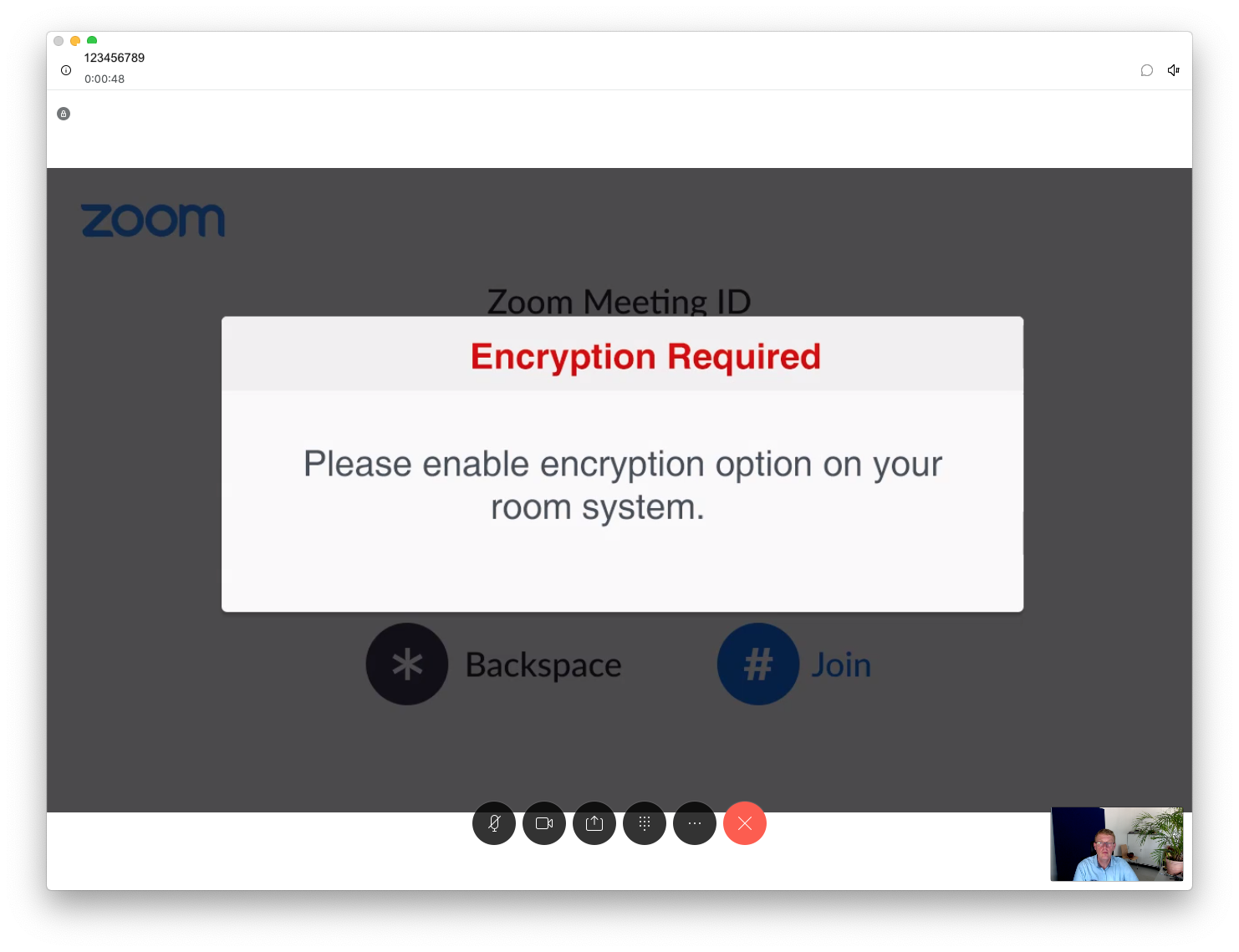 """Fenster """"Encryption Required"""""""