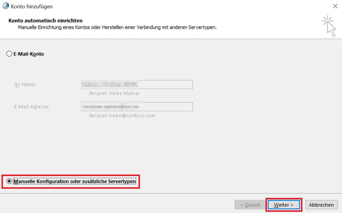 """Auf dem Bild wird gezeigt, dass Sie """"Manuelle Konfiguration oder zusätzliche Servertypen"""" wählen und auf """"Weiter"""" klicken sollen."""