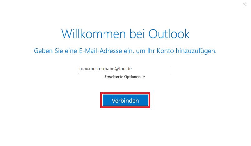 """Das Bild zeigt Ihnen, dass Sie im Fenster """"Willkommen bei Outlook"""" Ihre E-Mail-Adresse eingeben."""