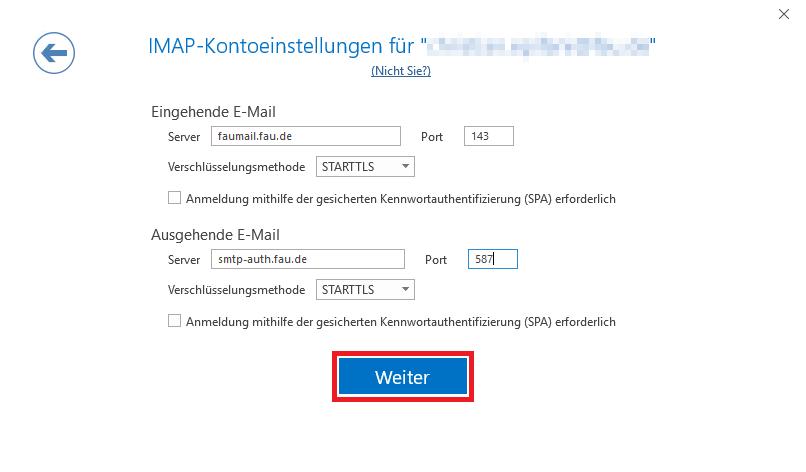"""Das Bild zeigt, dass Sie bei den Ihr Konto betreffenden IMAP-Kontoeinstellungen auf """"Weiter"""" klicken sollen"""