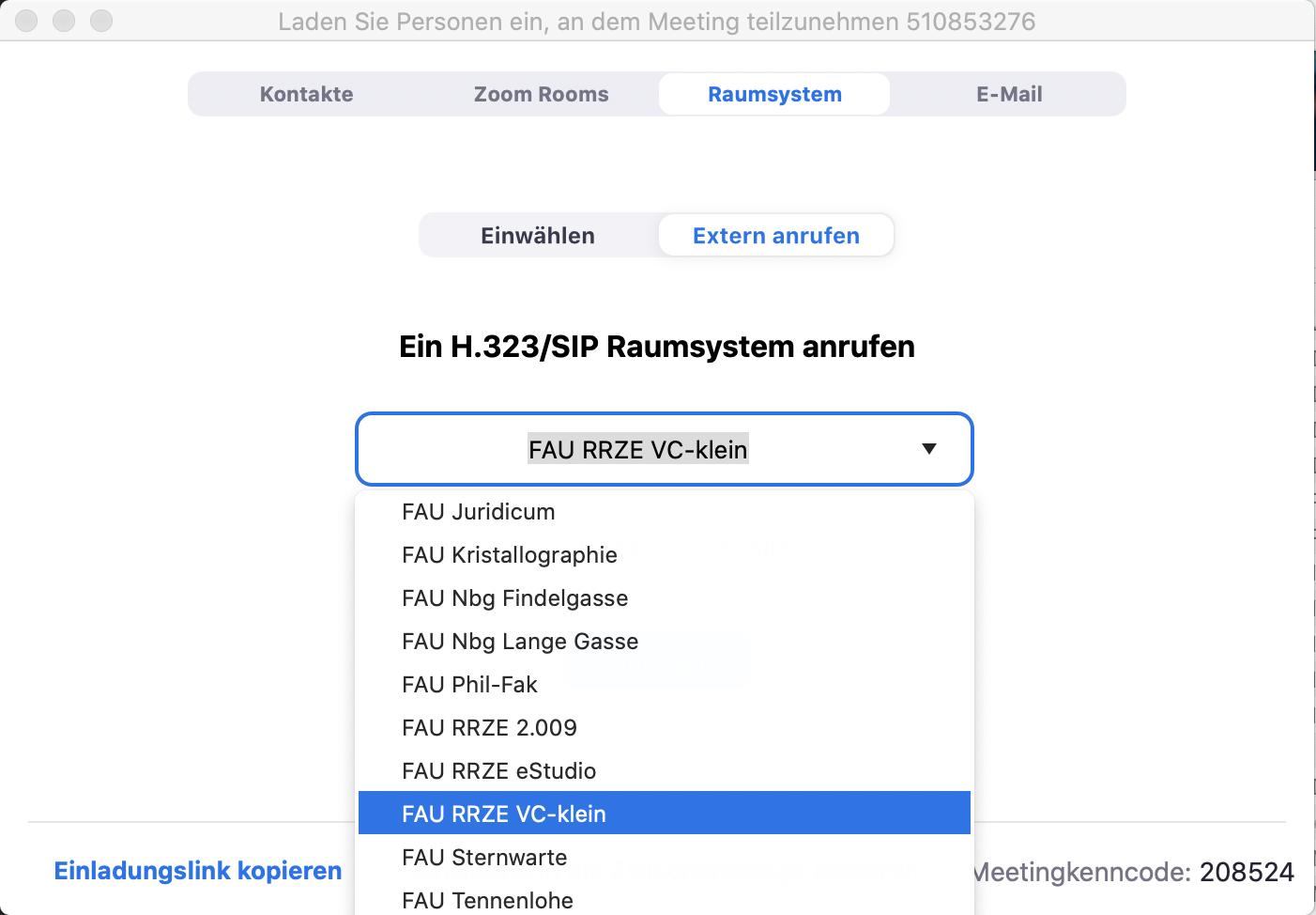 """""""FAU RRZE VC-klein"""" auswählen"""