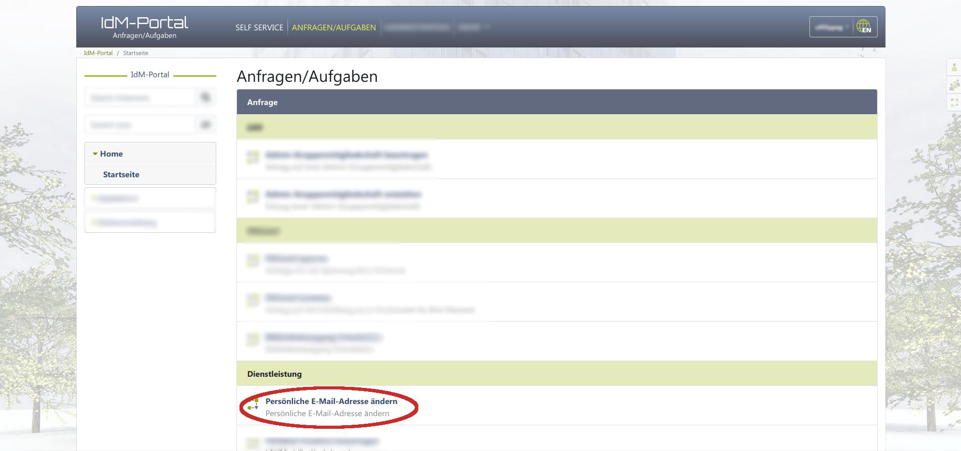 IDM-Portal - Anfragen / Aufgaben - Persönliche E-Mail-Adresse ändern