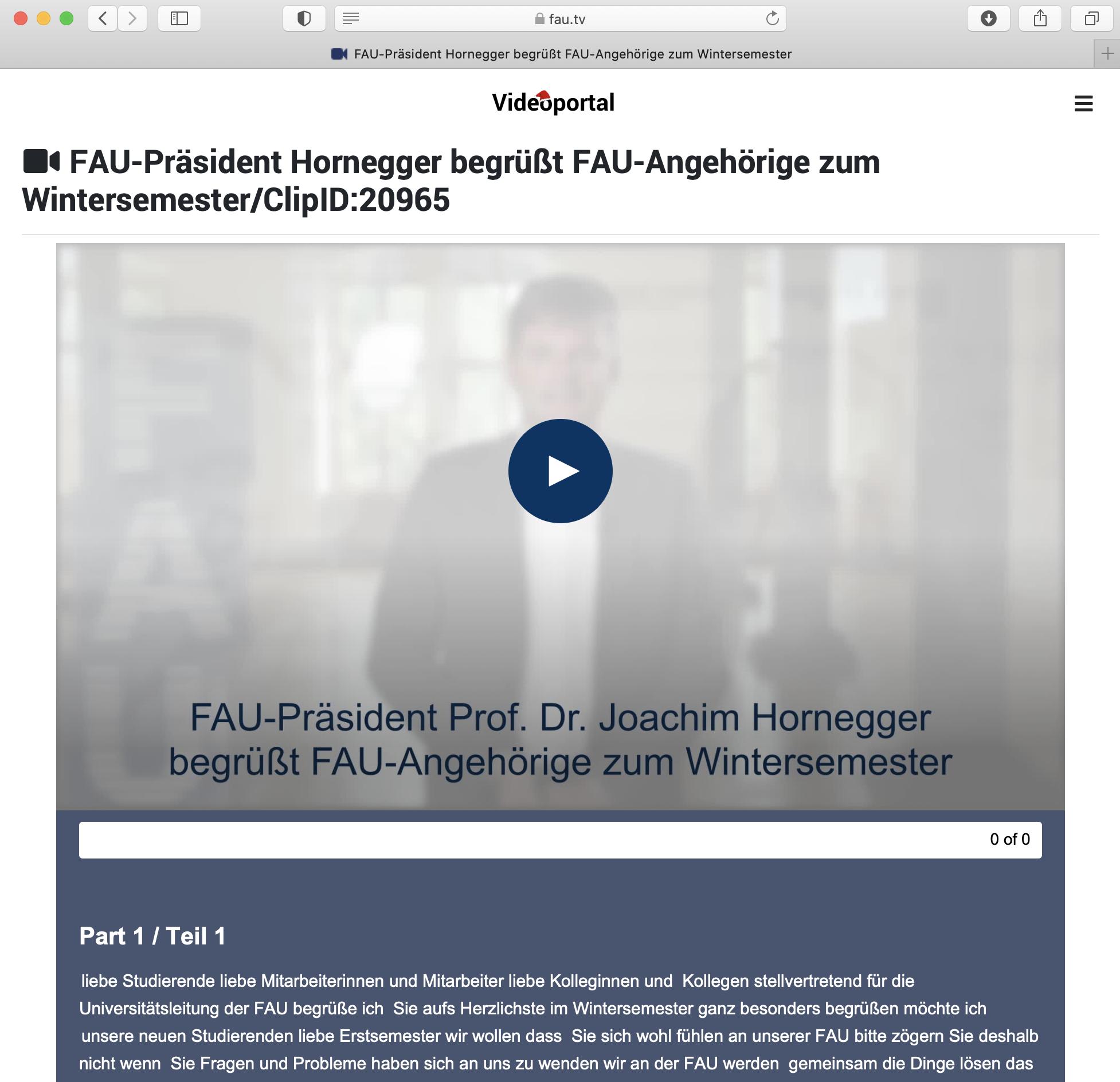 Inhalt Videoportal: Begrüßung Präsident FAU