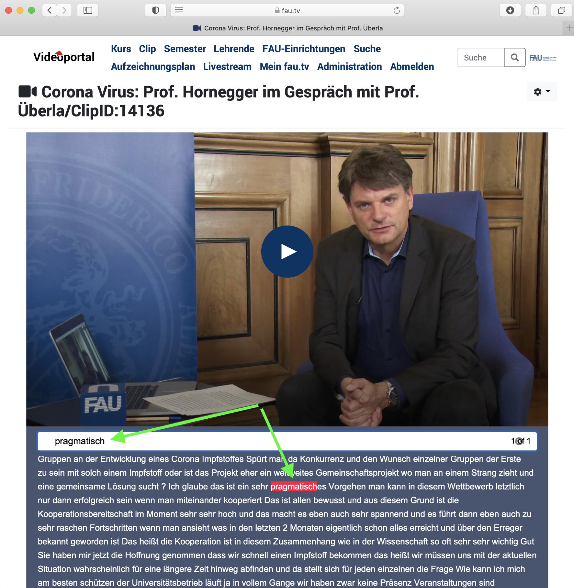 Inhalt Videoportal: Präsident FAU zu Coronavirus - Suche nach einzelnen Wörtern