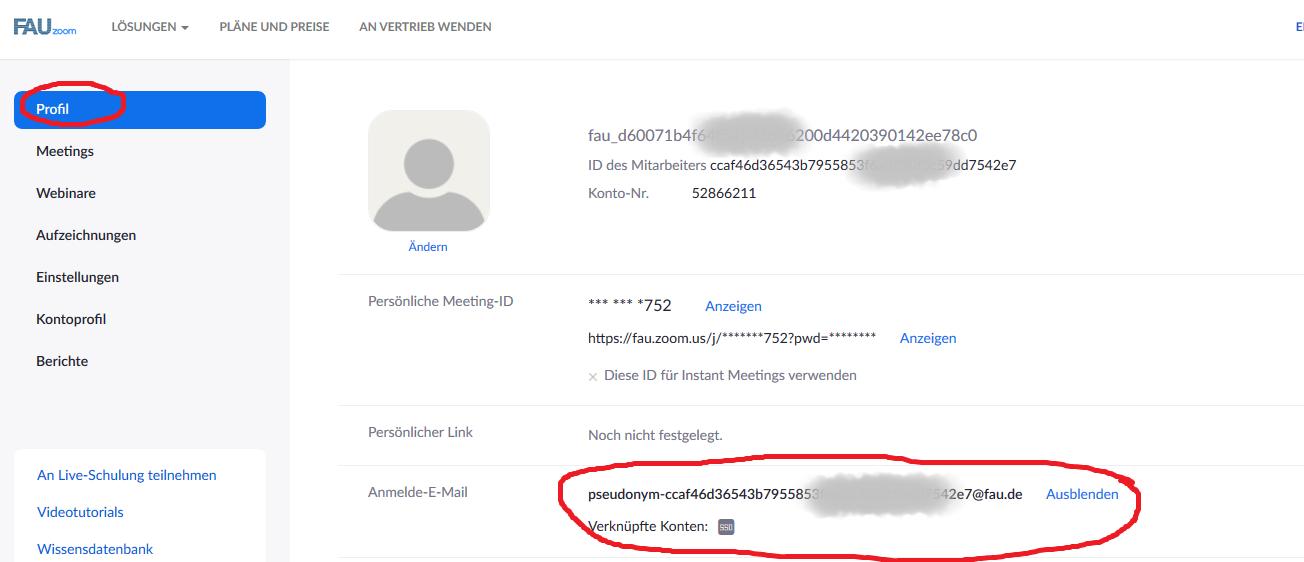 """Auf diesem Bild ist zu sehen, wie unter """"Profil"""" und unter """"Anmelde-E-Mail"""" eine pseudonymisierte E-Mail-Adresse angezeigt wird. Dieser Bereich ist rot umkreist."""