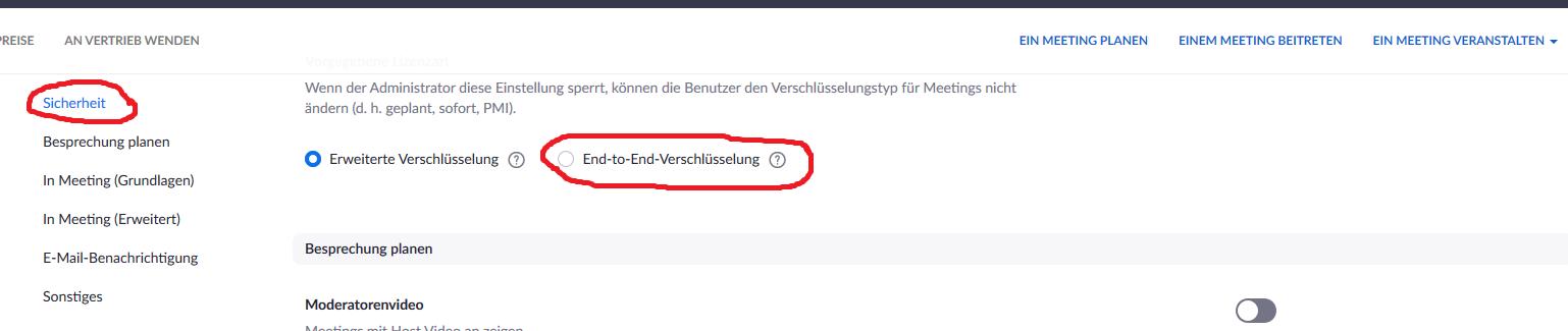 """Hier wird gezeigt, dass unter der Kategorie """"Sicherheit"""" einerseits """"Erweiterte Verschlüsselung"""", andererseits """"End-to-End-Verschlüsselung"""" steht. Der Autor hat """"End-to-End-Verschlüsselung"""" rot umkreist."""