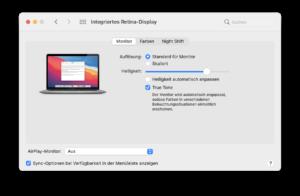 Screenshot MAC OS Systemsteuerung