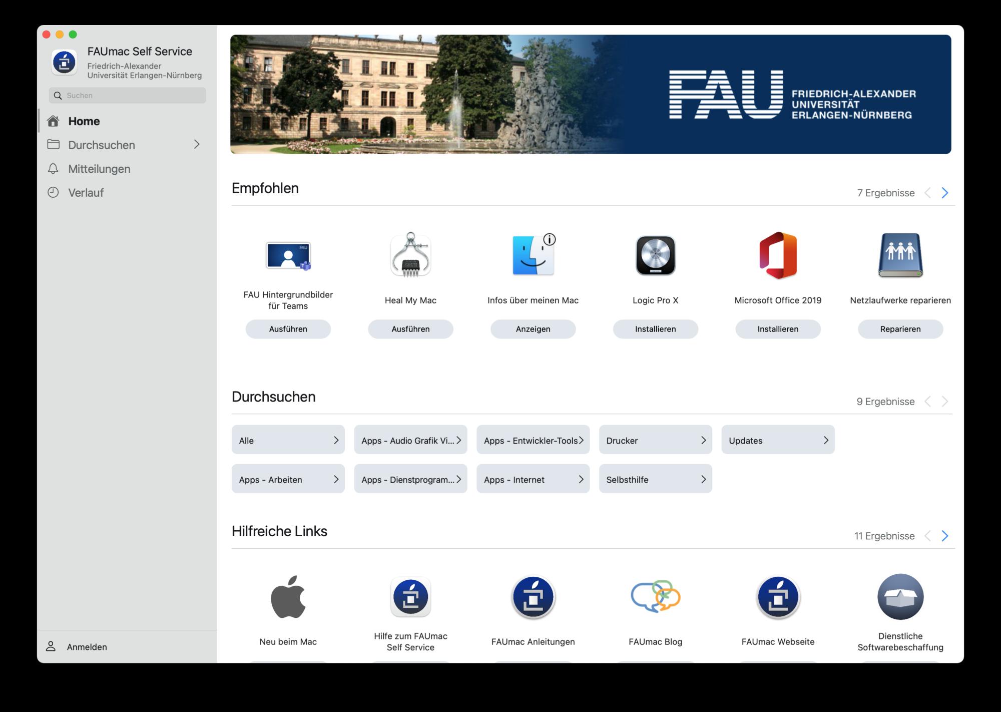 Das Bild zeigt die Hauptseite des FAUmac Self Service.